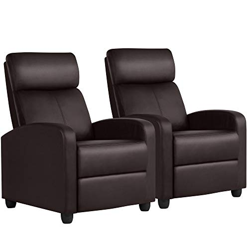 Yaheetech Leather Home Theater Seating Single Recliner Chair Wingback Rceliner Sofa Recliners Row of 2, Brown