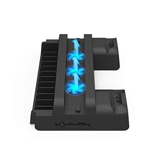 WINGONEER PS4スリム/ PS4プロ/レギュラーPS4コントローラー充電器(3つの冷却ファン付き)ゲーム用ストレージEXTデュアル充電ステーション(PlayStation 4コンソール用)Dualshock 4コントローラーアクセサリー