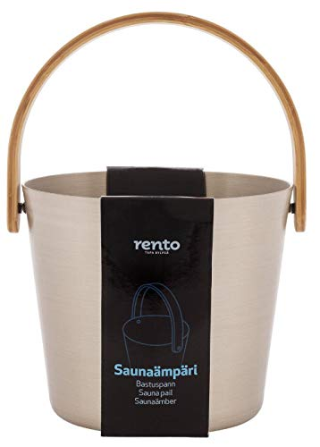 Rento - Saunaeimer - Aluminium mit Bambushenkel - Champagner - 5 Liter