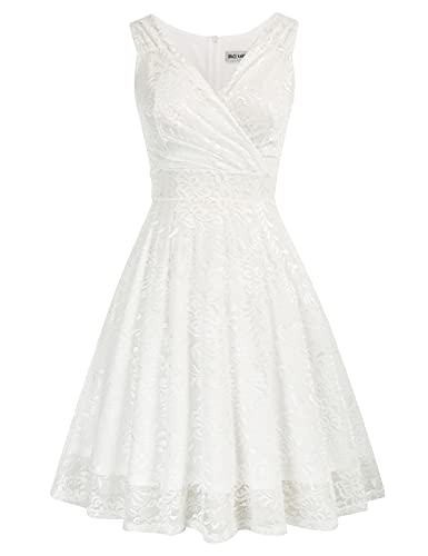 Sleeveless Lace Dress for Cocktail Party Knee Length Wrap Dress White Size M