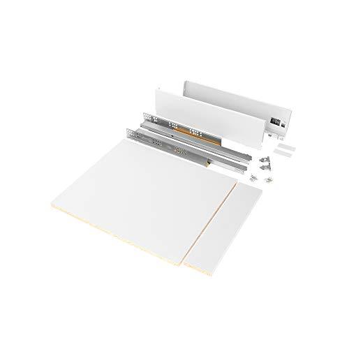 Emuca - Kit de cajón para cocina o baño con tableros incluidos y guias de extracción total con cierre suave, altura 93 mm para módulo 600 mm y profundidad 500 mm, Blanco.
