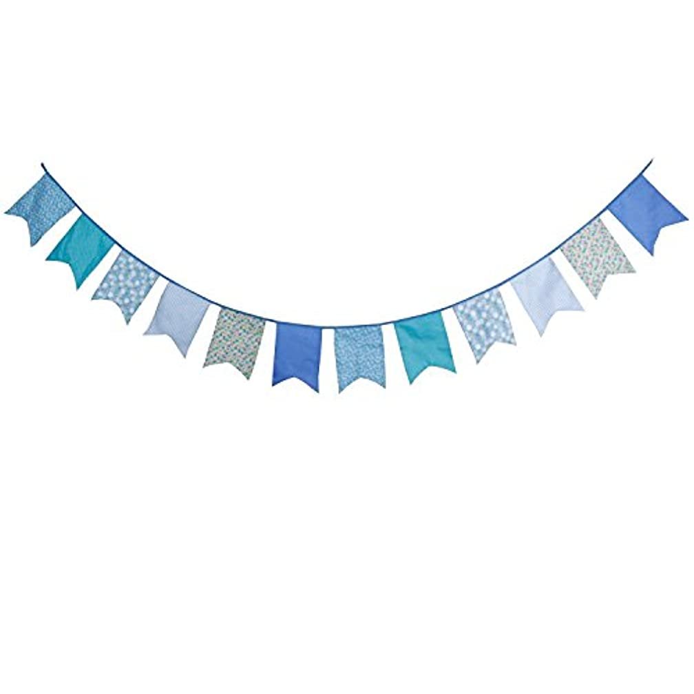 INFEI 3.5M/11.5Ft Floral Vintage Fabric Big Fishtail Flags Bunting Banner Garlands for Wedding, Birthday Party, Outdoor & Home Decoration (Blue)