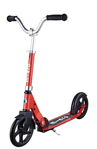 Micro Mobility - Trottinette Cruiser Rouge - Enfant - Grandes Roues - Guidon Large et réglable, Style Chopper tournant à 360° - 100% Aluminium - Robuste, compacte et Pliable - Dès 7 Ans