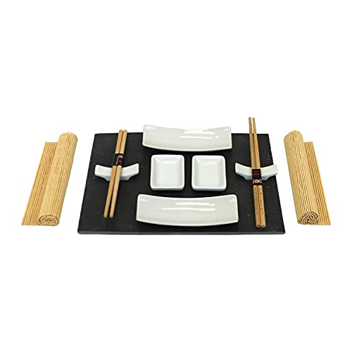 Set Sushi con Vassoio in Ardesia Atopoir Noir (11 pezzi) Oriente per 2 Persone