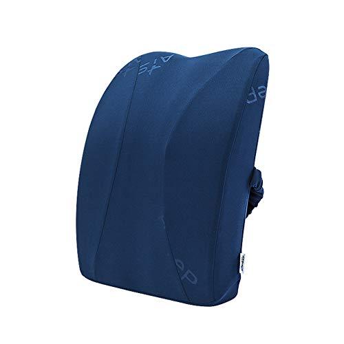 Yulo Cintura por cojín del Coche Memoria de Rebote Lento Respaldo de Almohada de algodón Soporte Lumbar,Azul,40x35x12cm