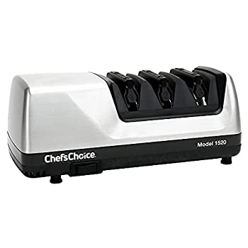Chef sChoice Hone Electric Knife Sharpener for 15 and 20-Degree Knives 100% Diamond Abrasive Stropping Precision Guides for Straight and Serrated Edges 3-Stage Gray