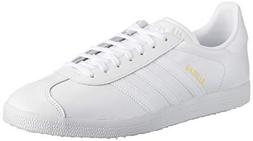 adidas Gazelle, Zapatillas de deporte Unisex Adulto, Blanco (Ftwr White/Ftwr White/Gold Metallic), 38 EU