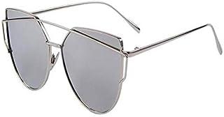 Womens Mirrored Flat Lens Metal Frame Cat Eye Sunglasses Silver Frame Silver Lens