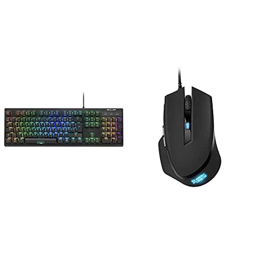Sharkoon Skiller SGK30 Blue, Mechanische Gaming Tastatur (mit RGB Beleuchtung, Blaue Schalter, N-Key-Rollover, 1000 Hz Polling Rate), 4044951030026 & Shark Force II schwarz