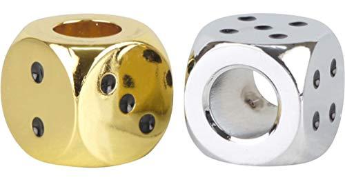 yaoviz® 2x Glutkiller 20mm für Aschenbecher Würfel metall gold silber schwere Qualität offen Gluttöter Glutlöscher