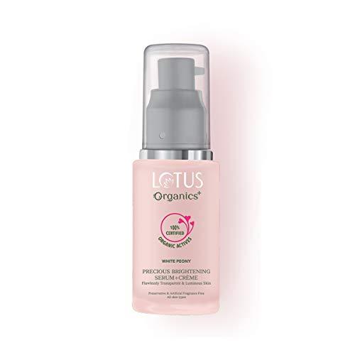 Lotus Organics+ Precious Brightening Face Serum + Crème for Radiant Skin, 100% Certified Organic Actives, Natural Glow Face Serum for Women, 30 ml