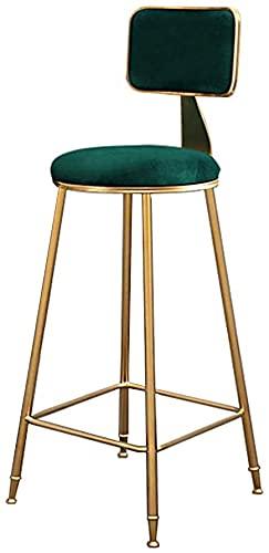 WXking Taburete de bar para pub Coffee Home Dinning Cocina, Silla de bar con la espalda, Cojín de terciopelo gris, patas de metal de oro, altura de asiento 29.5 pulgadas, 300 LBS Capacidad de oso, 1 p