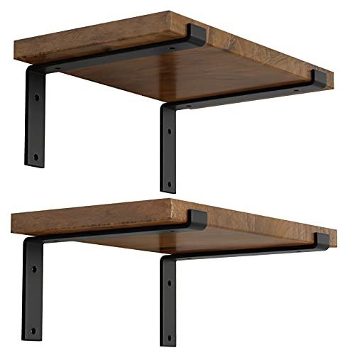 LEOPO 12 inch Shelf Bracket for DIY Floating Shelf, 1/5 inch Thick Heavy Duty Bracket, 4 Pack, Z Shelf Bracket
