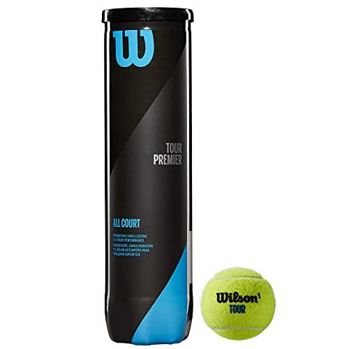 Wilson Tennisbälle Tour Premier für alle Beläge, gelb, 4er Dose, WRT119400