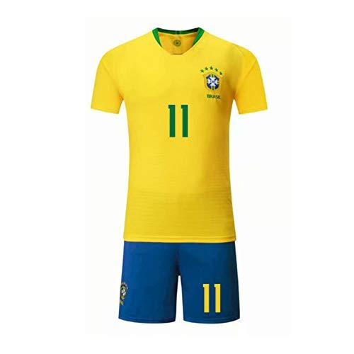 LCHENX-Die Brasilianische Fußballnationalmannschaft Philippe Coutinho # 11 Herren Fan Fußball Trikot Set,Gelb,XL
