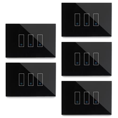 Kit da 5 iotty I3 Interruttore Intelligente wifi Smart per luci e cancelli, nero, compatibile Google, Alexa, Siri e IFTTT, Controllo Remoto da App IOS e Android, placca touch vetro retroilluminato