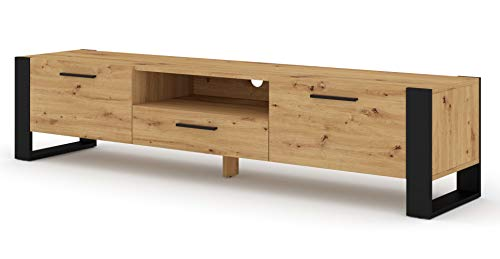 BIM Furniture TV Stand Nuka 200 cm Lowboard Schrank TV Tisch Sideboard Kommode Hi-Fi Tisch (Artisan Eiche)