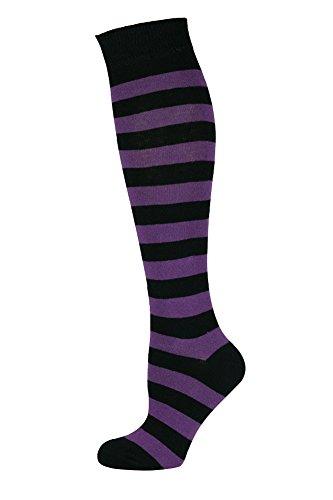 Mysocks Unisex Kniestrümpfe lange Socken Streifen Lila Schwarz