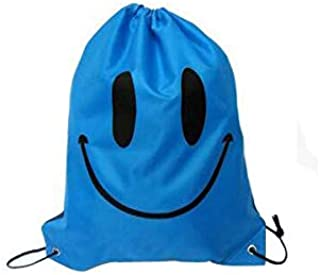 Drawstring Bag for Kids, Multipurpose Children Lightweight Backpack, Outdoor Recreation Bags, Printed Smile, Blue
