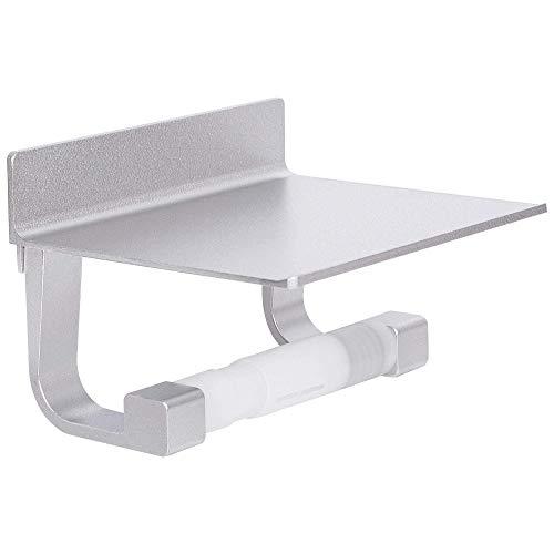 Soporte para papel higiénico DyniLao con estante, soporte para papel higiénico para baño, soporte para papel higiénico autoadhesivo plateado
