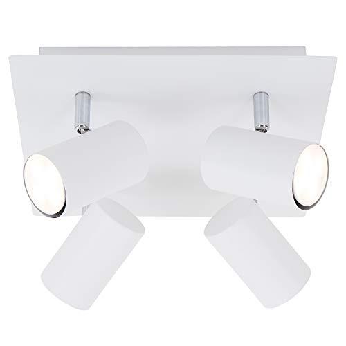 Briloner Leuchten Deckenspot, schwenkbar, Deckenlampe, Deckenleuchte 4-flammig, GU10, max. 40 Watt, Weiß, Metall, W