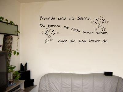 Wandtattoo / Wandaufkleber Zitat Freunde sind wie Sterne, …; Farbe Schwarz
