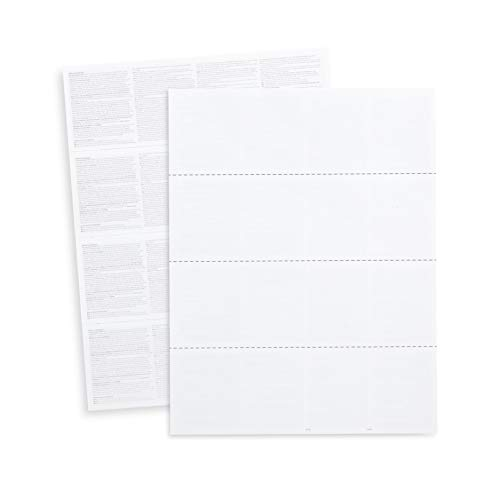Blank 2020 W2 4 Up Horizontal Tax Forms, 100 Employee Forms, Designed for QuickBooks and Accounting Software, Ideal for E-Filing, Works with Laser or Inkjet Printers, 100 Four Part Forms, 4 DOWN FORMS