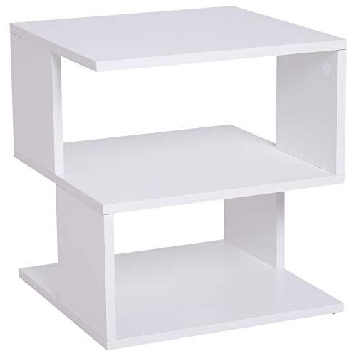 HOMCOM Modern Square 2 Tier Wood Coffee Side Table Storage Shelf Rack Living Room White