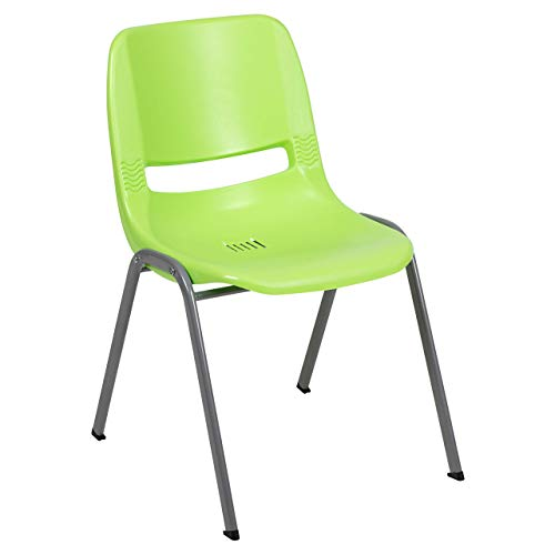 Flash Furniture HERCULES Series 5 Pack 880 lb. Capacity Green Ergonomic Shell Stack Chair with Gray Frame