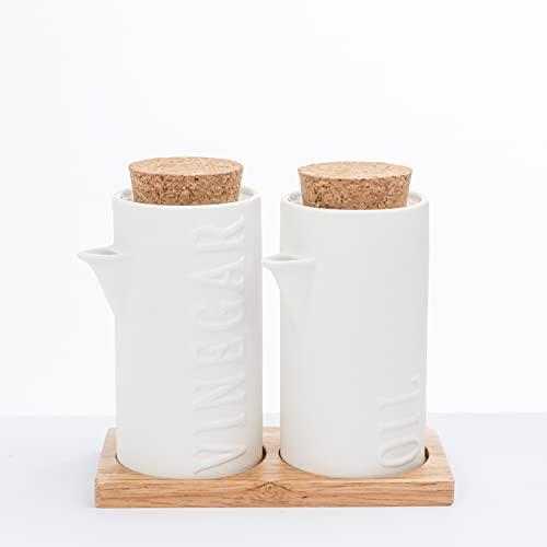 Dispensador de Aceite y Vinagre, Set Aceitera Vinagrera de Cerámica,Tapa de Corcho y Soporte de Madera