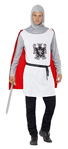 Smiffys 43422L - Ritter-Kostüm Economy Top mit angenähtem Umhang Gürtel und Kapuze
