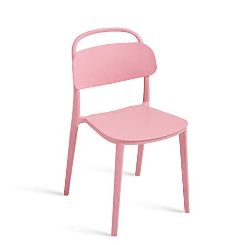 PLL Moderne minimalistische Nordic stoel huis creatieve kunststof stoel restaurant volwassenen vrije tijd bureau stoel rug kruk roze