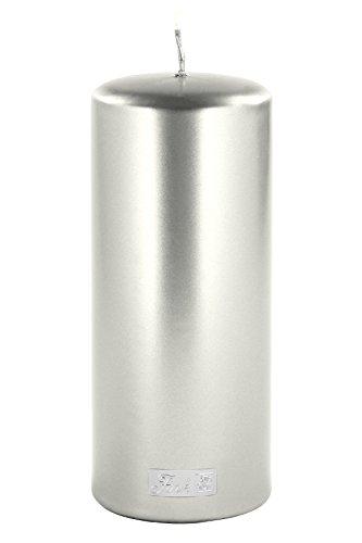 Fink - Candle/Stumpenkerze/Kerze - metallic Stein - Silber - getaucht - Höhe 20 cm - Ø 8 cm