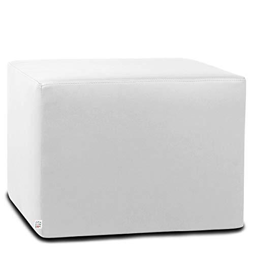 Arketicom Dado Pouf Poggiapiedi CUBO Ecopelle Sfoderabile Puff Bianco 55 cm