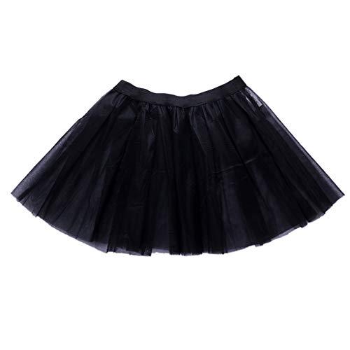 JERKKY onderjurk voor dames en volwassenen, 3-laags, balletrok met brede riem, prinsessens, opvouwbaar, gebreid, onderrok zwart