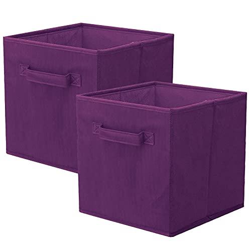 Powerking Cesta Plegable de Almacenamiento de Ropa Cubos, contenedores y cajones (púrpura, 2)