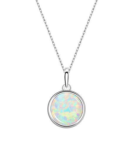 KristLand - Moonlight Kette Damen Erstellt Weißer Opal Anhänger aus Sterlingsilber mit Anhänger kreisförmig Kreis Form Geschenk für Frauen/Mädchen/Hochzeiten/Party 16MM Weiß Opal