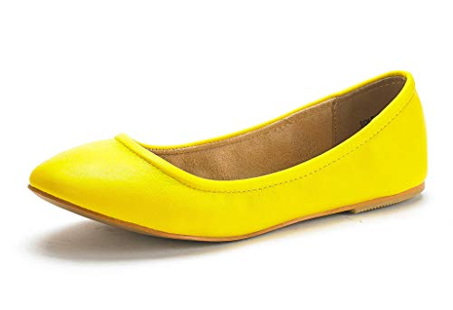 DREAM PAIRS Women's Sole-Fina Yellow Comfort Ballet Flats Shoes - 8 M US