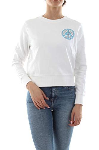 Tommy Jeans lange mouwen sweatshirt ronde hals cropped statement-print wit