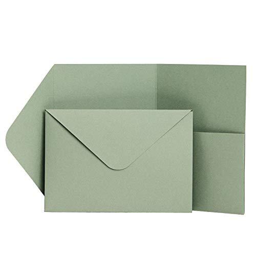 Pocketfold Invites LTD Einladungskarten, matt, 185 x 130 mm, Salbei, 50 Stück