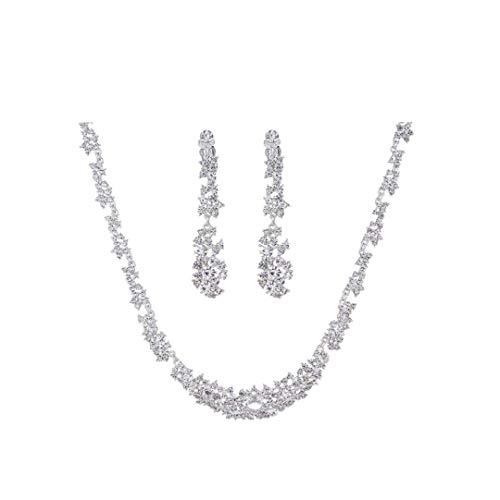 NaisiCore 3 PC/joyería Nupcial Conjunto Conjunto de Cristal cuelga los Pendientes del Collar del Rhinestone + joyería para la Boda, Fiestas (Plata) de Cuidado Personal