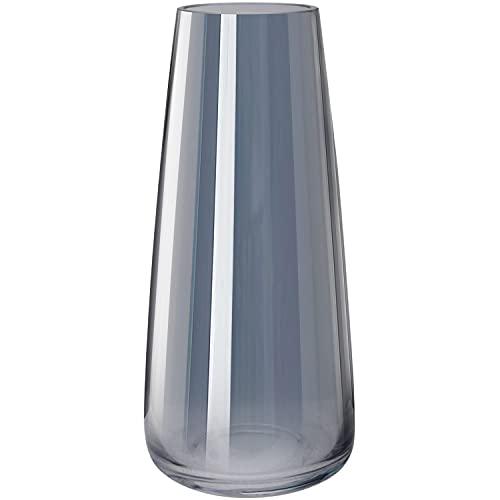 Vase aus Glas, Hoch Klarglas Konische Vasen, Blumenvase Dekorative mit Massivem Eisboden, Ins Style handgemachte kristall Glasvase Vase Behälter für Home Office Dekor, 10x6.5x22CM, Rauchgrau