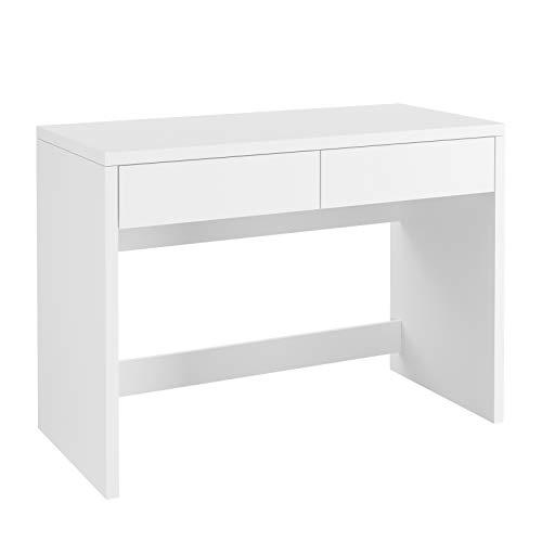 Homfa Schreibtisch mit 2 Schubladen Computertisch Arbeitstisch PC-Tisch Schminktisch Bürotisch aus Holz Nordisches Design modern weiß 108x50x77cm(BxTxH)