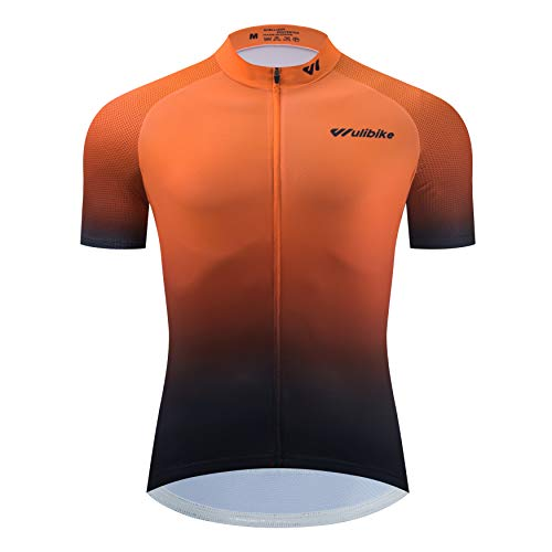 logas Cycling Jersey Mens Short Sleeve Road Bike T Shirt Quick-dry MTB Top with Back Pockets