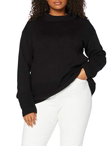 Amazon-Marke: MERAKI Damen Übergröße Baumwolle Rollkragenpullover, Schwarz (Black), 36, Label: S