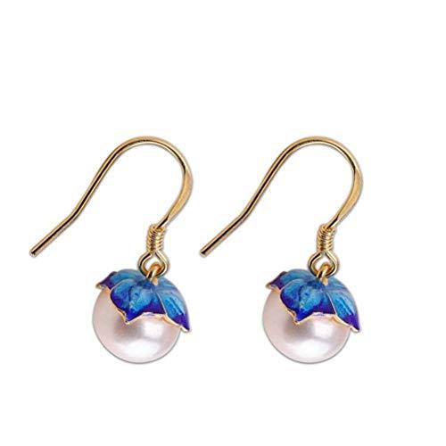 LOt Pendiente en Forma de Gota para Mujer S925 Pendientes de Plata Esterlina Moda Perla Simple Chapado en Oro Pendientes Azules Ardientesperla