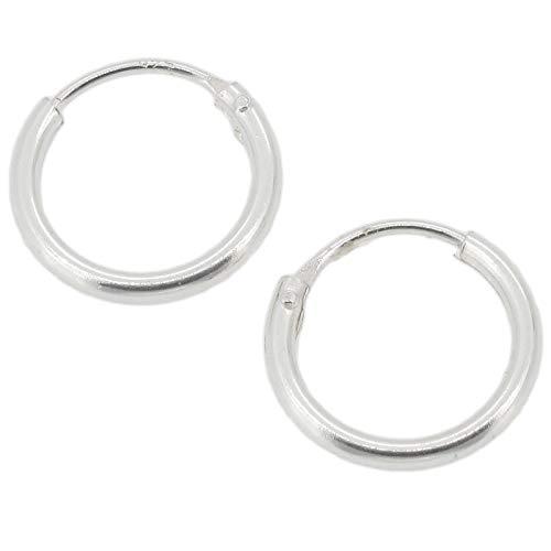Orecchini semplici a cerchietto 10 mm; in argento Sterling