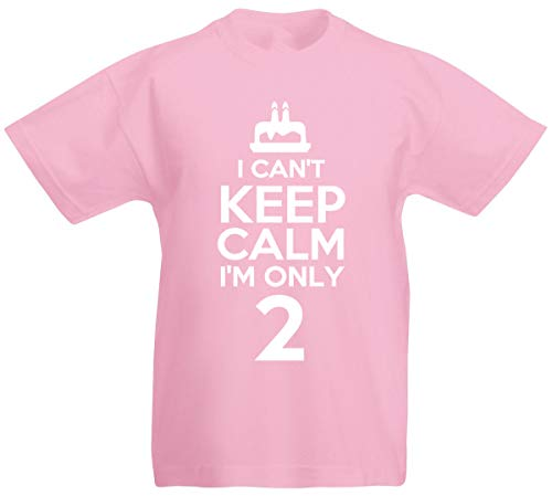 I Can't I'm Only 2-2nd Birthday Gift T-Shirt for 2 Year Old Boys and Girls (Pink)