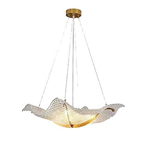 Lámpara de araña de cristal moderna, diseño de barco de lujo dorado durante, lámpara de techo de 8 luces para sala de estar, dormitorio, restaurante, isla de cocina, dorado 80x100cm (dorado 80x100cm)