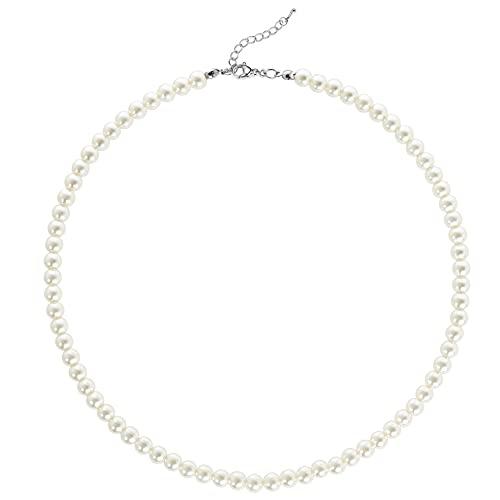 BABEYOND Collar Redondo de Perlas de Imitación de Perlas Collar de Perlas de Boda para Novias Blanco(Diámetro de Perla 6mm)